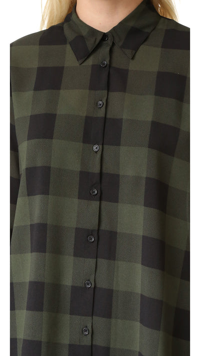 BB Dakota Holly Anne Buffalo Plaid Shirtdress in Army Green BG38581