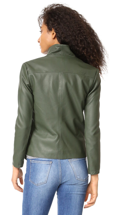 BB Dakota Carmen Vegan Leather Jacket in Army Green BG32115
