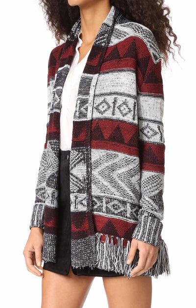 BB Dakota Loyd Patterned Fringe Cardigan in Black BG36042