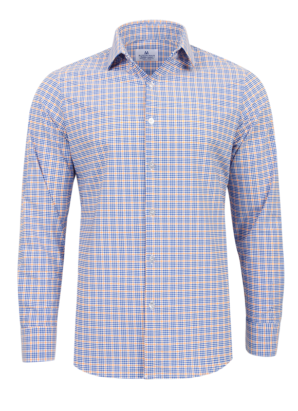 Mizzen+Main Charleston Orange/Cobalt Crosshatch Button Down Shirt L-5011