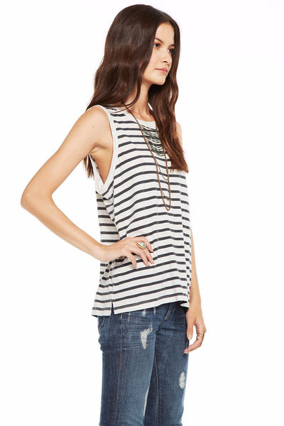 Chaser Brand Gauze Jersey Everybody Tank in Stripe CW6421