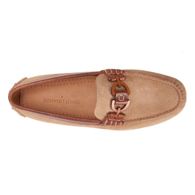 Donald Pliner Riel Calf Suede and Waxy Calf Leather Driving Loafer Riel-CS