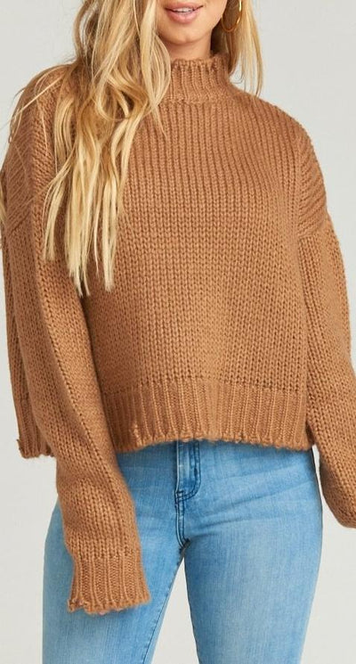 Show Me Your Mumu Cody Crop Sweater in Distressed Knit Java MR8-1463