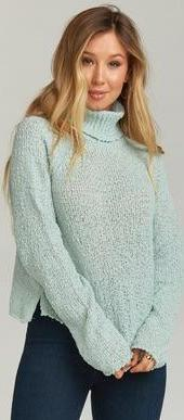 Show Me Your Mumu Maurice Turtleneck Sweater Knubby Knit in Mint MR8-1530