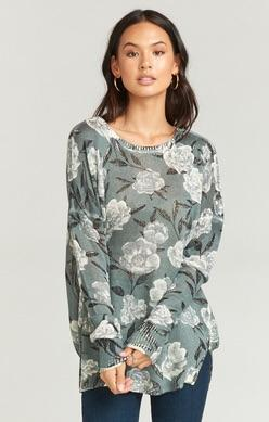 Show Me Your Mumu Bonfire Sweater in Frosted Florals Knit MR8-1533