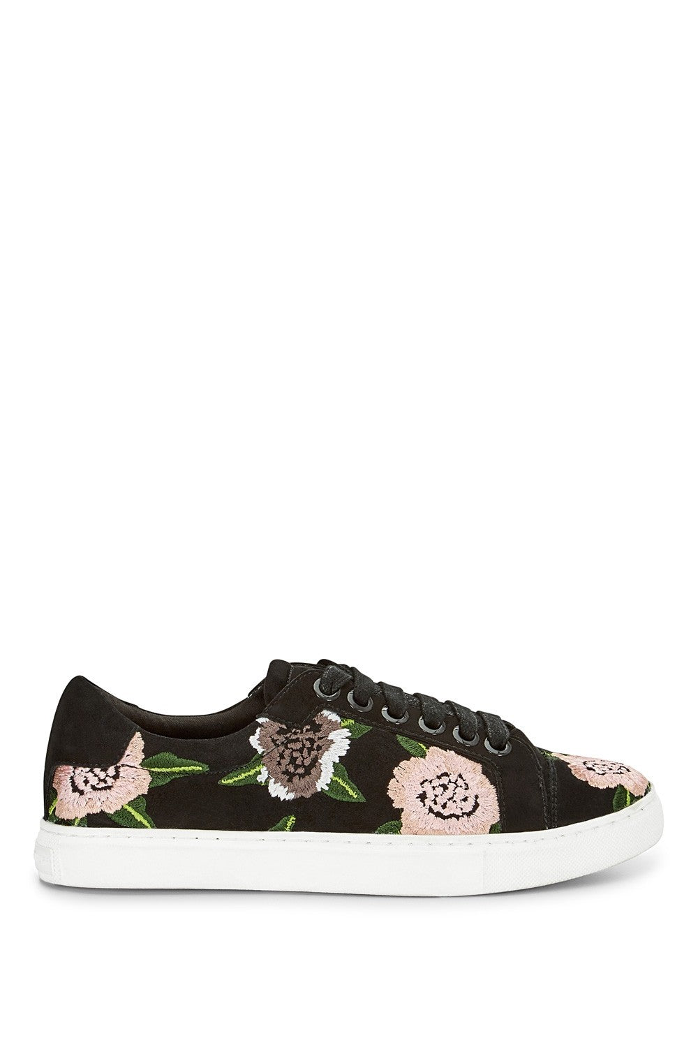 Rebecca Minkoff Bleecker Floral Embroidery Sneaker in Black Suede M285040