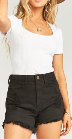 Show Me Your Mumu Houston High Waisted Shorts Midnight Black MDS9-079