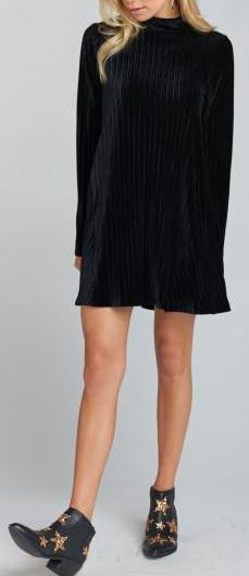 Show Me Your Mumu Tammy Turtleneck Dress in Black Pleated Velvet MF8-1469