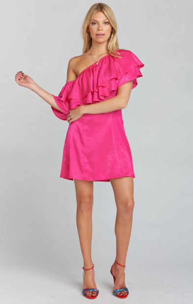 Show Me Your Mumu Brooke Mini Dress in Flirty Fuchsia Sheen MF8-1602
