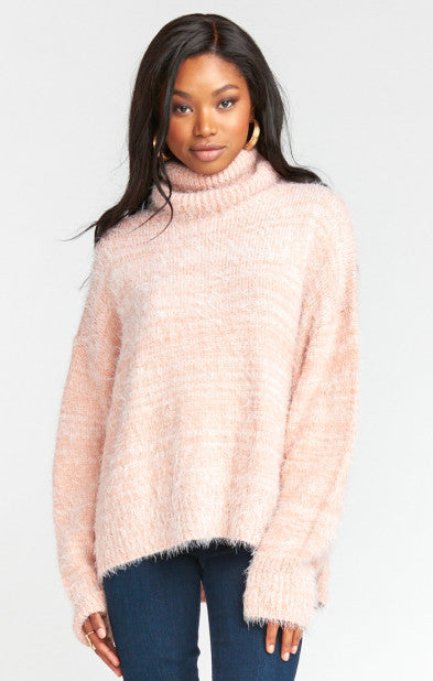 Show Me Your MUMU Fatima Turtleneck Sweater Fuzzy Pink Knit MF9-935