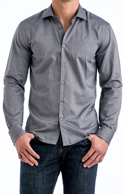 Stone Rose Gingham Shirt MIA4208 Grey