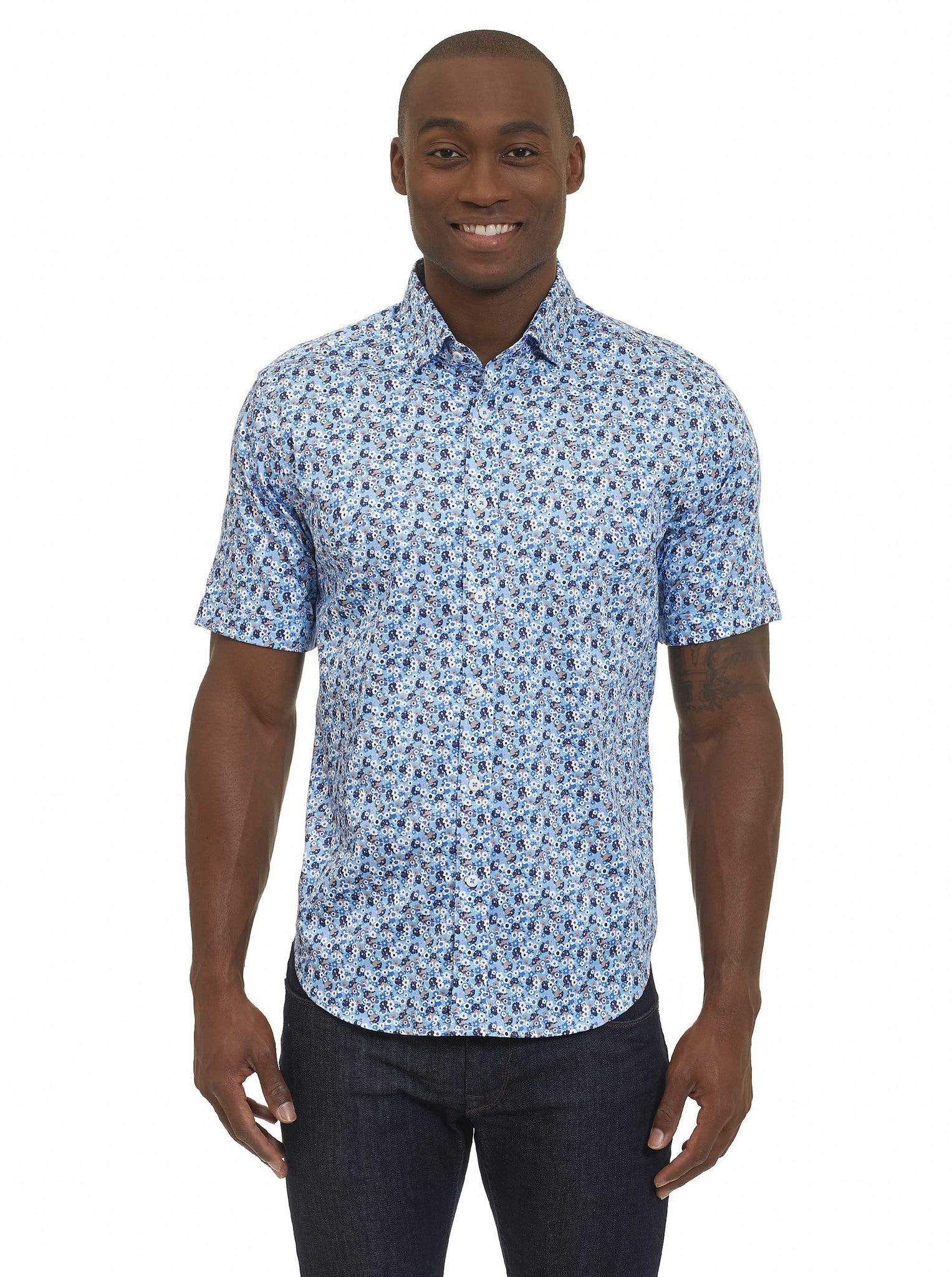 Robert Graham Roman Tailored Fit Short Sleeve Shirt MS172128TF