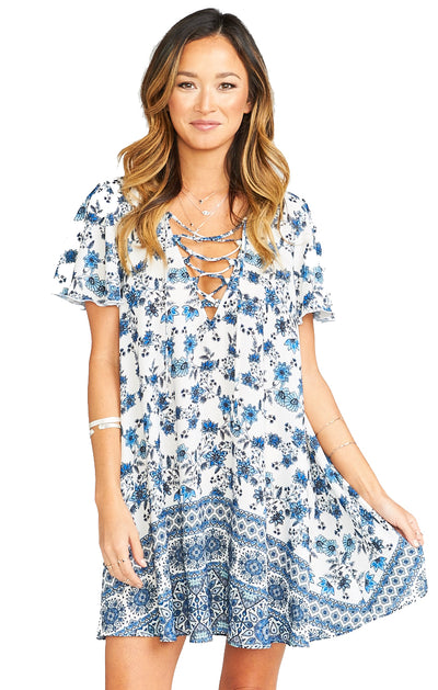 Show Me Your Mumu Kylie Lace Up Dress in Casablanca Blues MS8-718