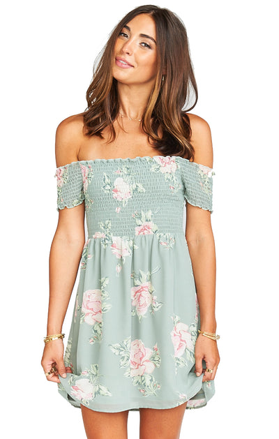 Show Me Your Mumu Dolly Smocked Dress in Sweetheart Sage MS8-952