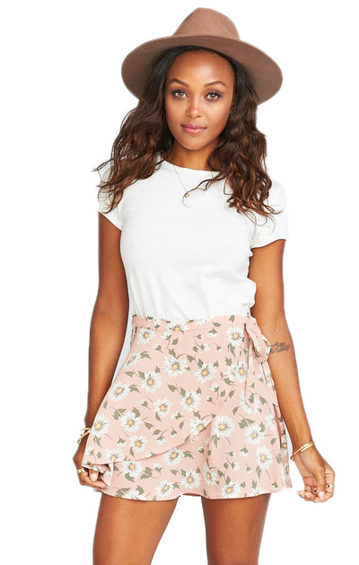 Show Me Your Mumu Twirl Wrap Skirt in Daisy Duke Floral Pebble MS8-998