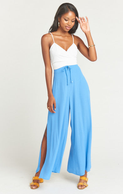 Show Me Your Mumu Pierre Slit Pants in Italian Blue Crepe MS9-1819
