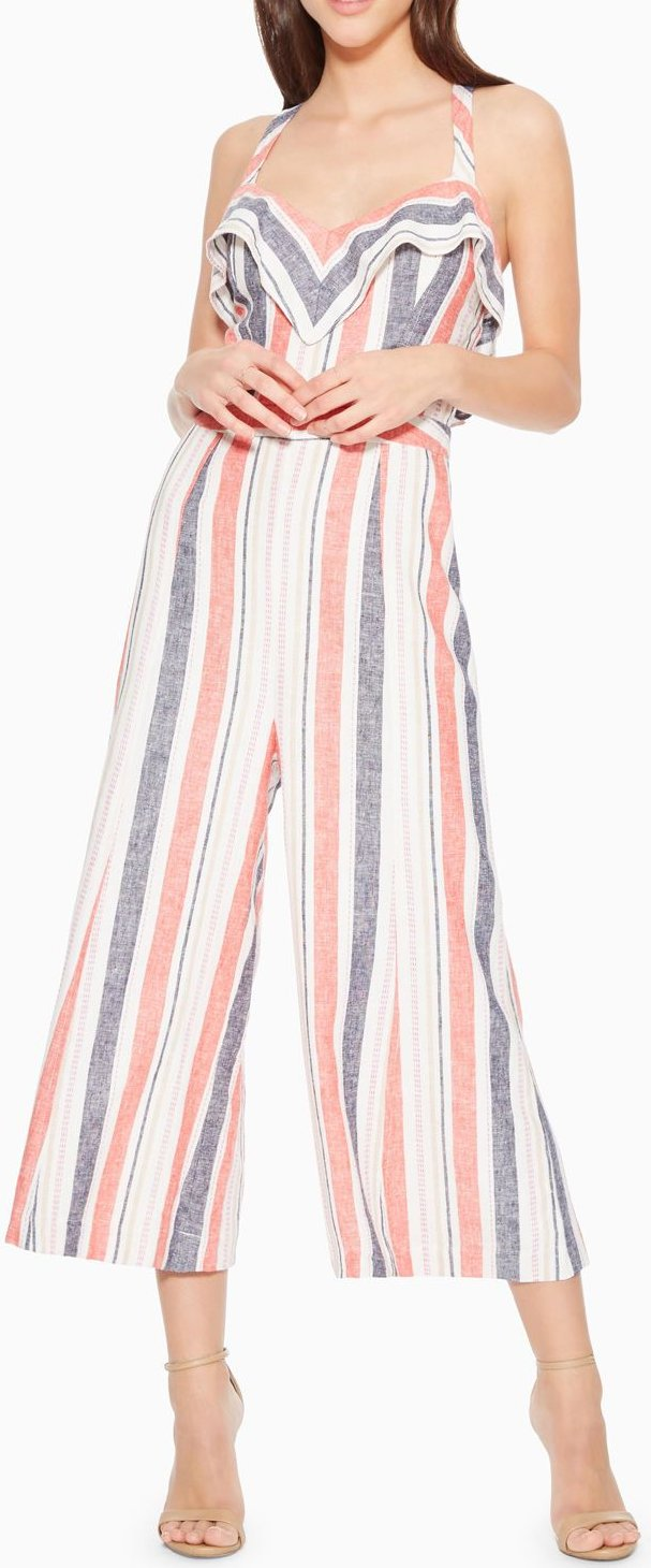 Multi Stripe 10 Parker Womens Angie Cropped Wide Leg Jumpsuit