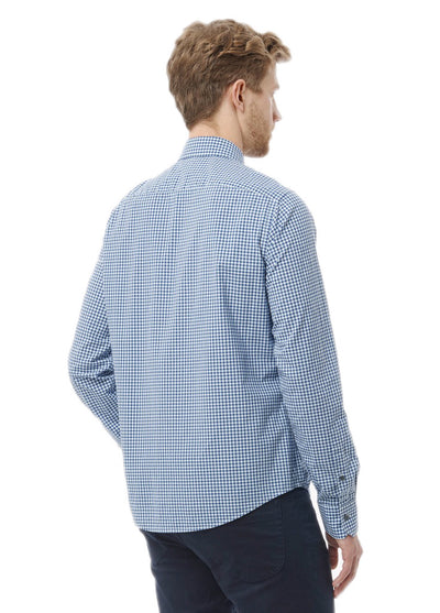 Vince Gingham Check Slim Fit Shirt in Blue M2025-1208