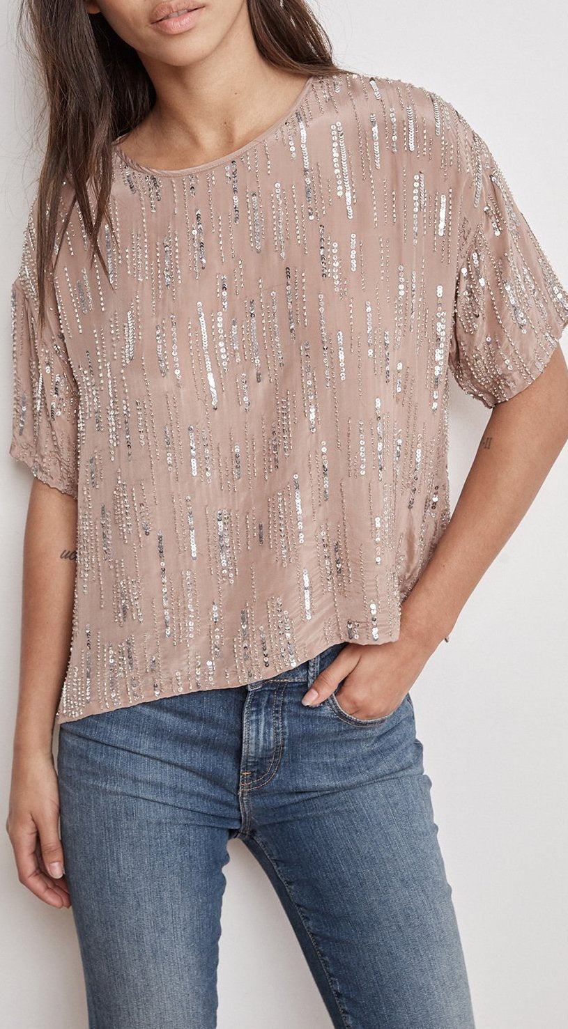Velvet Brighton Raindrop Sequins Top BRIGHTON03