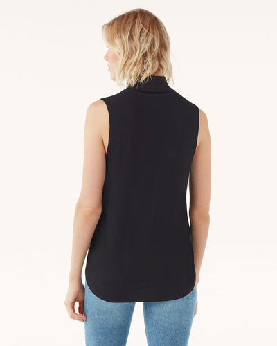 Splendid Silk Mock Neck Sleeveless Top Black RF0070L