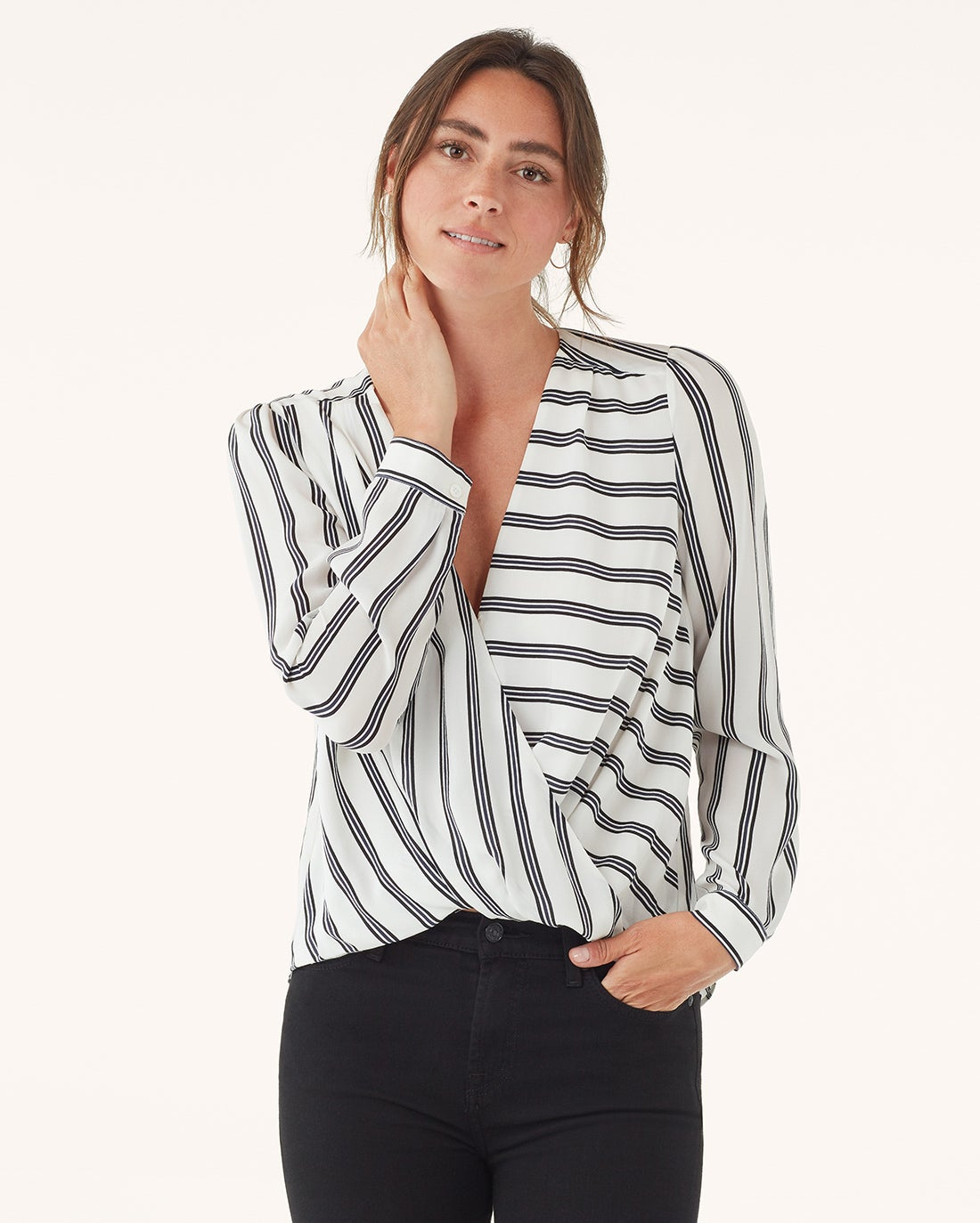 Splendid Silk Stripe Surplice Long Sleeve Top RF0080