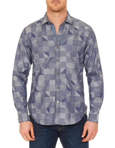 Robert Graham Trim Castle Tailored Fit Sport Shirt in Navy RF151218TF