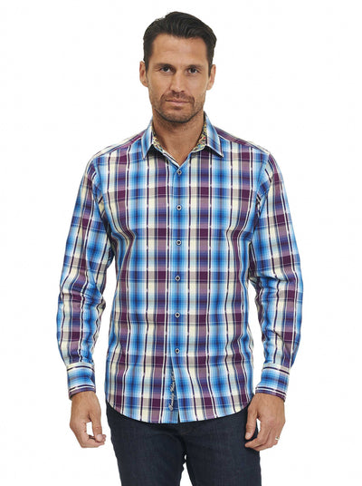 Robert Graham Hiran Long Sleeve Sport Shirt in Purple RS171015CF