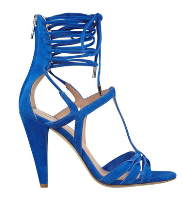 SIGERSON MORRISON MELODY LACE UP HEEL IN BLUE SUEDE
