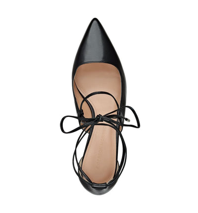 SIGERSON MORRISON WYNNE LACE UP DEMI WEDGE IN BLACK LEATHER