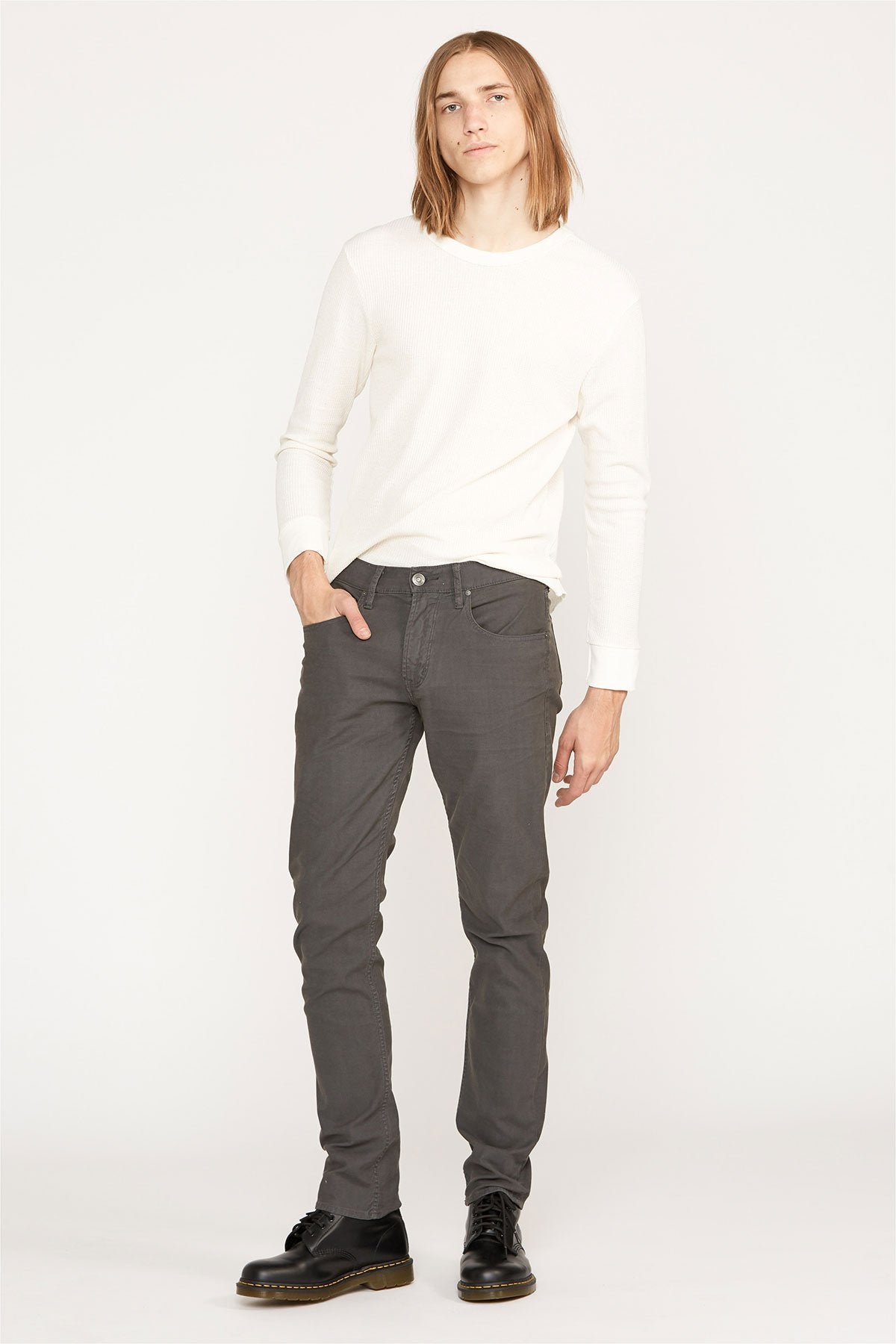 Hudson Blake Slim Straight Pants in Dark Grey M275ZTWR