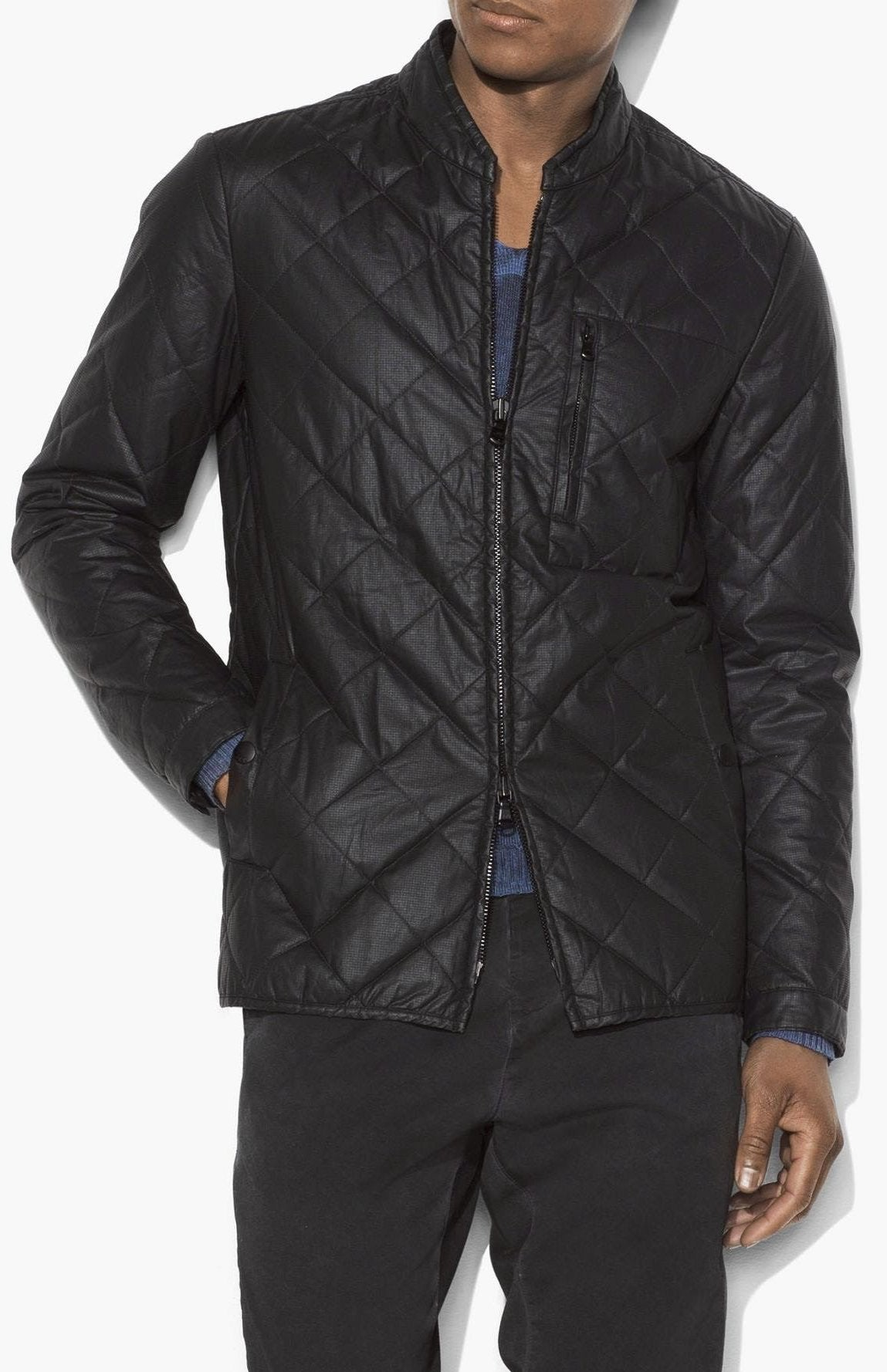 John Varvatos Quilted Zip Up Jacket O1726U3B-BMIA