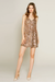 Lavender Brown ROSE GOLD NYLON SEQUIN MINI SLIP DRESS ARX1129