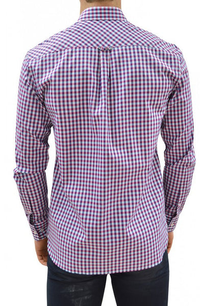 Stone Rose Plaid Button Down Shirt VCE 5103 , Navy/Pink