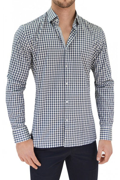 Stone Rose Plaid Button Down Shirt VCE 5103 , Navy/White
