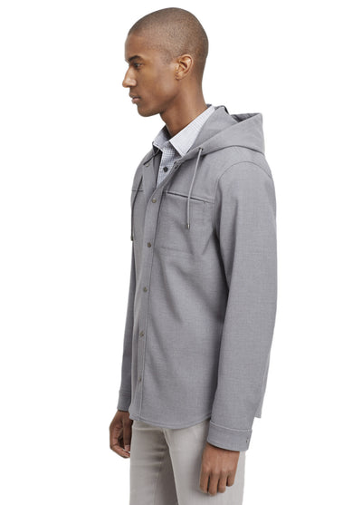 Vince Hooded Snap-Front Jacket in Heather Grey M31824412