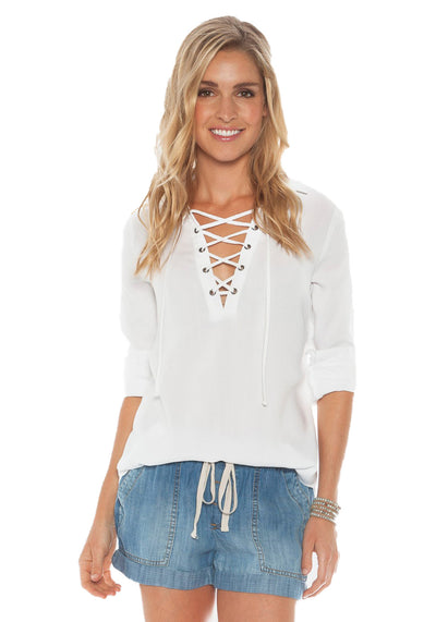 Bella Dahl Lace Up Pullover in White B2100-654-303