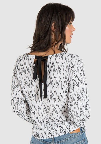 Bella Dahl Bell Sleeve Tie Back in White B2442-526-302