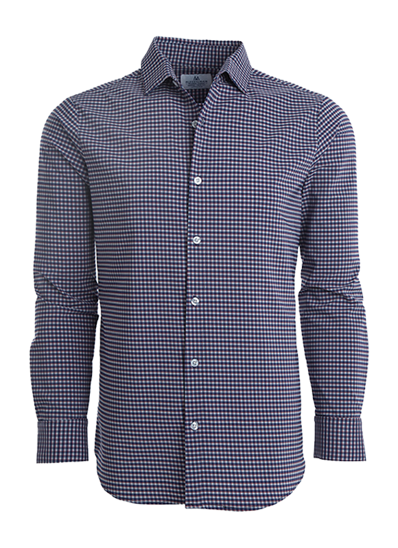 Mizzen + Main Washington Red Stripe on Blue Check Button Down Shirt L-6006