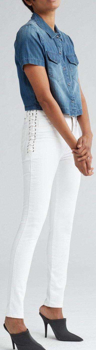 Hudson Barbara High Waist Ankle Super Skinny Jeans in White WHA4145DP2