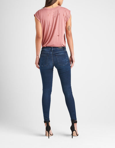 Hudson Krista Super Skinny Ankle Jeans w/ Raw Hem in Down N' Out WAR407DLV
