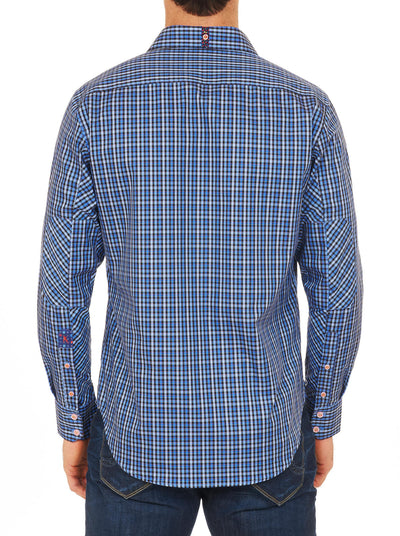 Robert Graham Davies Tailored Fit Sport Shirt in Navy XF151002TF