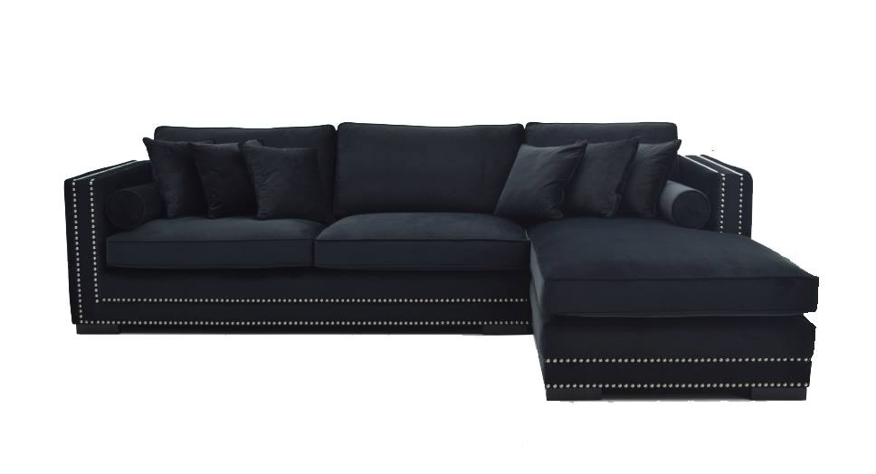 Manhattan sofa M/sjeselong (Sort Velour) Venstrevendt