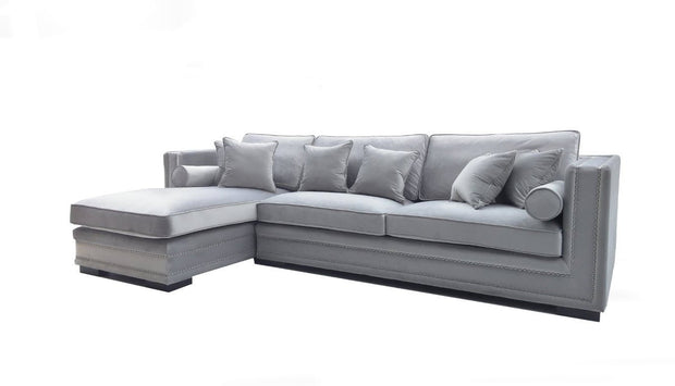 Manhattan Lux Lounge sofa m/sjeselong (Lys Grå Velour)
