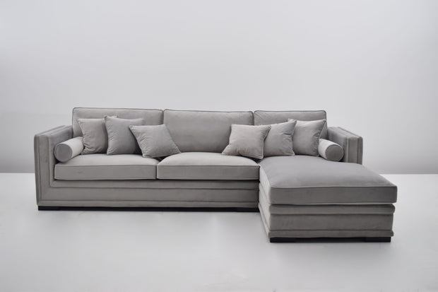 Broadway Lux Lounge Sofa (Lys Grå Velour)