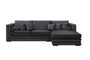Manhattan Lux Lounge sofa m/sjeselong (Sort Velour)