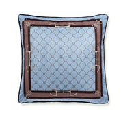 Velvet Equi Luxury 50x50cm (Dusty light Blue & camel) - Pute -    Classic Living - Lekre møbler og dekor