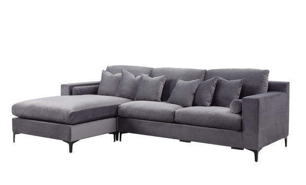 Palma Lounge sofa m/sjeselong (Grå Velour)