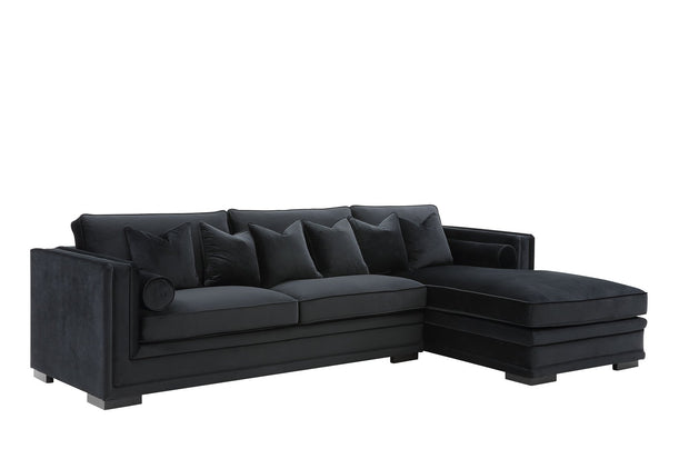 Broadway Lounge Sofa (Sort Velour) - Venstrevendt