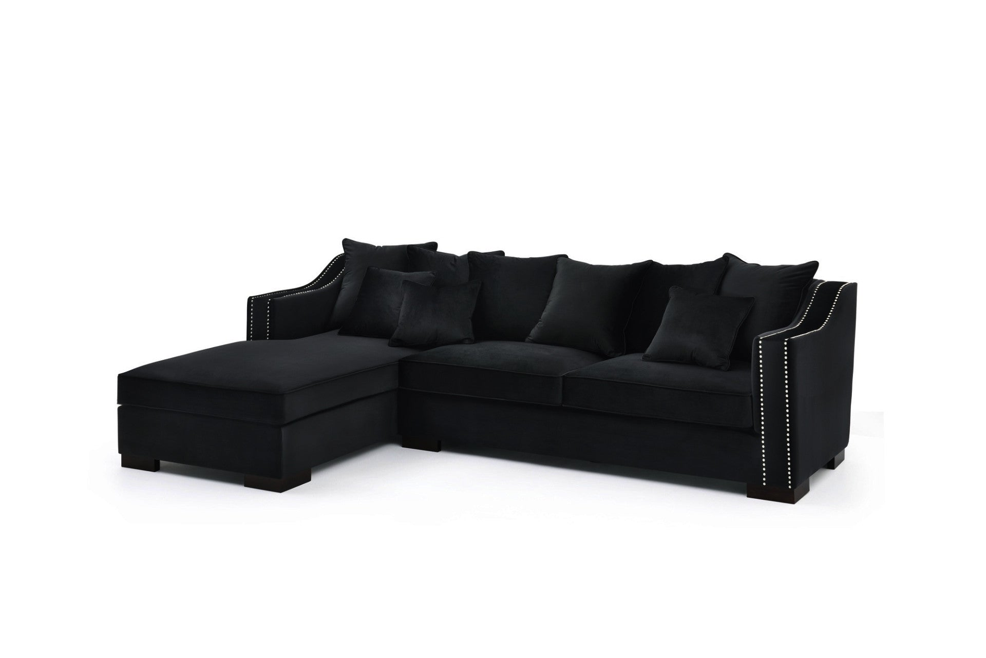 Savannah Lounge Sofa 281x95x84cm (Sort Velour) - høyrevendt