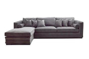 Manhattan Lux Lounge sofa m/sjeselong (Grå Velour)